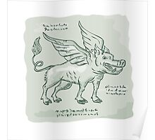 Wild Boar Wings Side Etching Poster