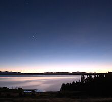 Moon & Venus over Lake Pukaki, NZ by Odille Esmonde-Morgan