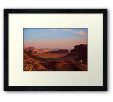 Wadi Rum Desert in Jordan - Sunset Framed Print