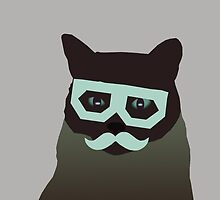 Dubstep cat with glasses and mustache by funnyshirts