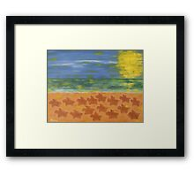 HORSE RACE ON THE BEACH Framed Print