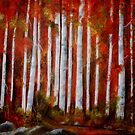Aspen trees in the Fall- Acrylic painting by Esperanza Gallego