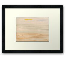 WALKING THE DOG ON THE BEACH Framed Print