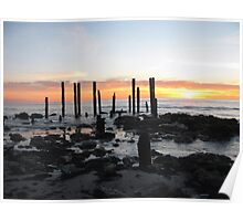 Winter Sunset Port Willunga Jetty Ruins....  Poster