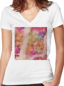 New York city map watercolor Women's Fitted V-Neck T-Shirt