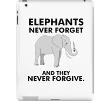 Angry elephant with knife in his trunk elephants never forget and they never forgive iPad Case/Skin