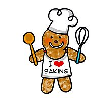 Gingerbread man cookie chef- I love baking Photographic Print