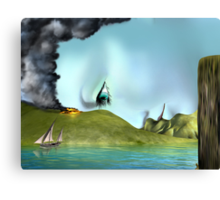 Surreal landscape face Canvas Print