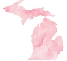 Michigan - Pink Watercolor State by lettersBheather