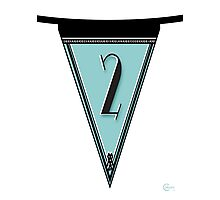 Manhattan 1920s Deco Blues Banner Pennant… number 2  Photographic Print
