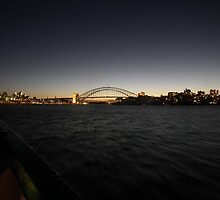 Sydney Harbour Bridge and Opera House as Dusk by Bernie Stronner