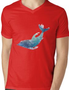 Watercolor playing dolphin Mens V-Neck T-Shirt