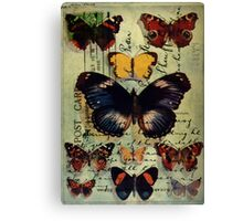 Postcard Butterflies Canvas Print