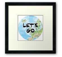 Let's Go! Rounded Europe Map Framed Print