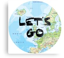 Let's Go! Rounded Europe Map Metal Print