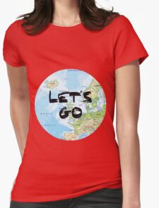 Let's Go! Rounded Europe Map Womens Fitted T-Shirt