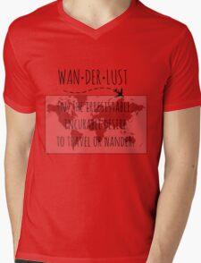 Wanderlust Tipography Mens V-Neck T-Shirt