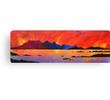 The Isle of Rum Winter Sunset, Scottish western Isles. Canvas Print
