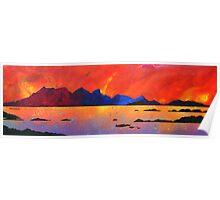 The Isle of Rum Winter Sunset, Scottish western Isles. Poster