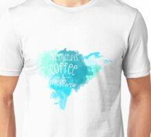 Mascara & Coffee - Blue Watercolor Unisex T-Shirt