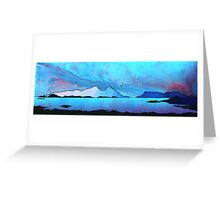 The Isle of Rum and Eigg from Sanna Bay, Scottish western Isles. Greeting Card