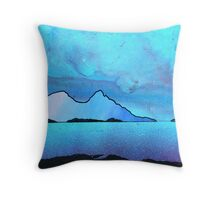 The Isle of Rum and Eigg from Sanna Bay, Scottish western Isles. Throw Pillow