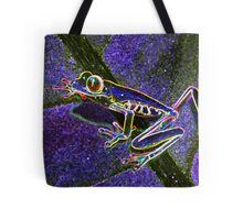 Pixel Art Neon Tree Frog Tote Bag