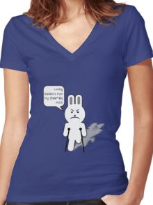 Lucky bunny Women's Fitted V-Neck T-Shirt