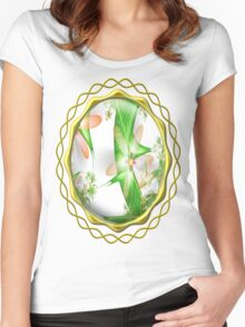 White Summer Flowers Women's Fitted Scoop T-Shirt