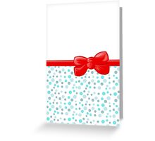 Ribbon, Bow, Dots, Spots - Blue White Red Greeting Card