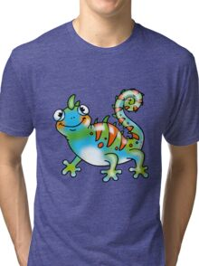 Colorful lizard cartoon Tri-blend T-Shirt