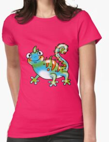Colorful lizard cartoon Womens Fitted T-Shirt
