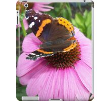 Red Admiral Butterfly on Cone Flowers iPad Case/Skin