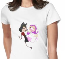 Funny siamese twins fairies. Womens Fitted T-Shirt