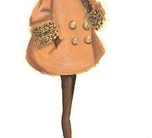 Fashion Sketch of Woman in Fur Coat by Kathlin Argiro