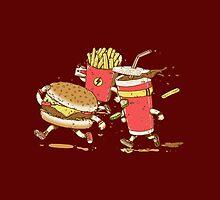 Running hamburger, coca cola and fries FAST FOOD by funnyshirts