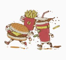 Running hamburger, coca cola and fries FAST FOOD Kids Clothes