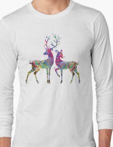 Deer Love Illustration Watercolor Long Sleeve T-Shirt