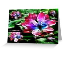 Rippled Water Lily and Bubbles Greeting Card