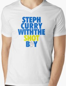 Steph Curry With The Shot Boy [With 3 Sign] Blue/Gold Mens V-Neck T-Shirt
