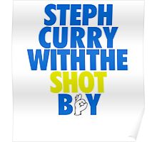 Steph Curry With The Shot Boy [With 3 Sign] Blue/Gold Poster