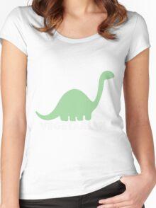 Vegetarian Dinosaur Logo Women's Fitted Scoop T-Shirt