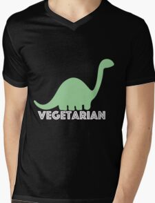 Vegetarian Dinosaur Logo Mens V-Neck T-Shirt