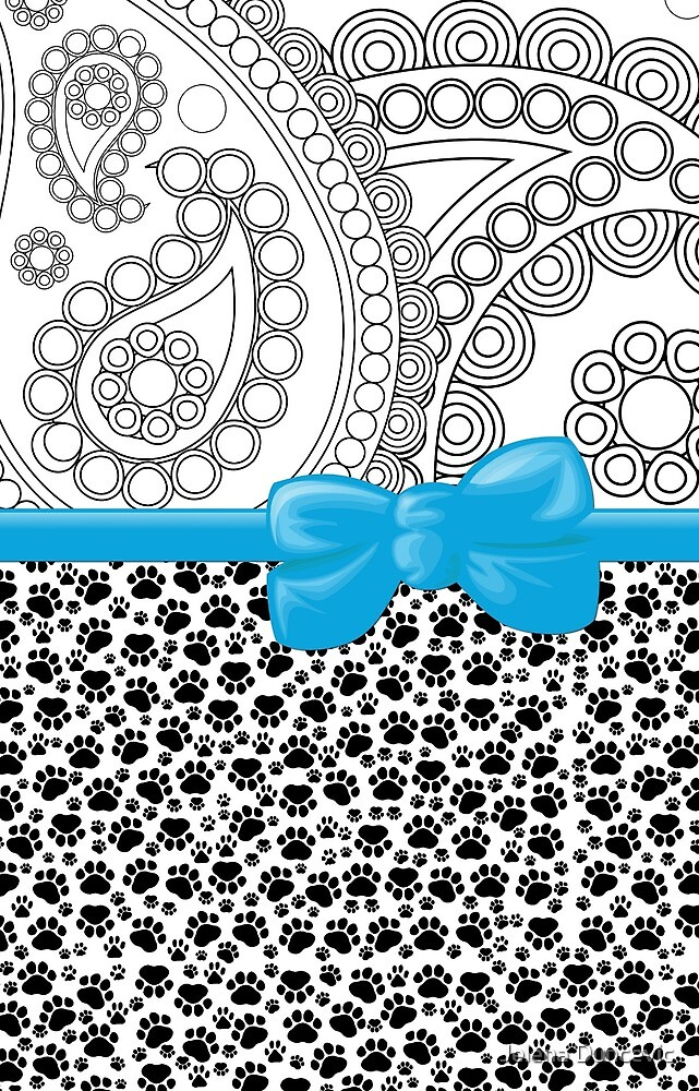 Ribbon, Bow, Dog Paws, Paisley - White Black Blue by sitnica