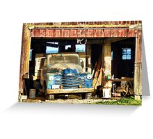 Red Barn Blue Truck Greeting Card