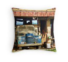 Red Barn Blue Truck Throw Pillow