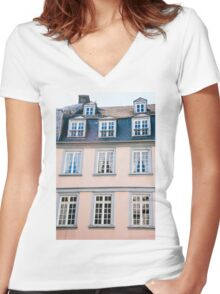 Pink Building Facade Women's Fitted V-Neck T-Shirt