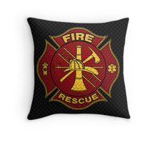 Firefighter Diamond Plate Design Throw Pillow
