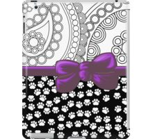 Ribbon, Bow, Dog Paws, Paisley - White Black Purple iPad Case/Skin