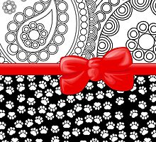 Ribbon, Bow, Dog Paws, Paisley - White Black Red by sitnica
